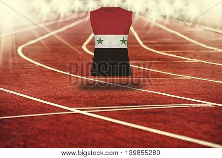 Red Running Track With Lines And Syria Flag On Shirt