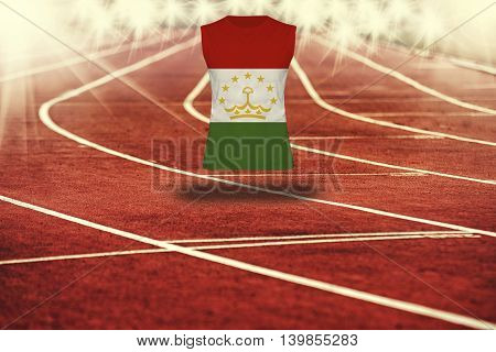 Red Running Track With Lines And Tajikistan Flag On Shirt