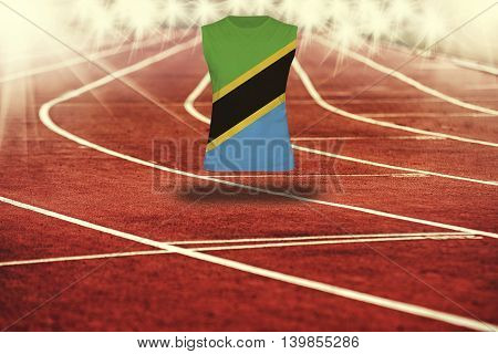 Red Running Track With Lines And Tanzania Flag On Shirt