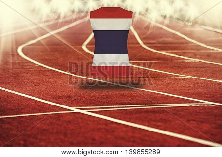 Red Running Track With Lines And Thailand Flag On Shirt