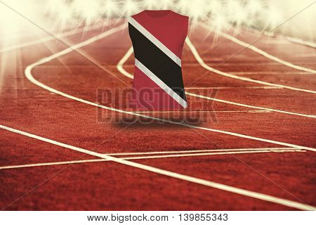 Red Running Track With Lines And Trinidad And Tobago Flag On Shirt
