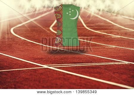 Red Running Track With Lines And Turkmenistan Flag On Shirt