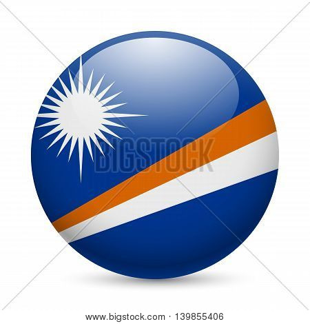 Flag of Marshall Islands as round glossy icon. Button with flag design