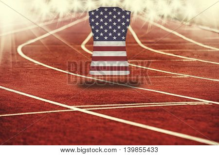 Red Running Track With Lines And Usa Flag On Shirt