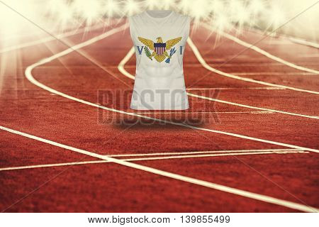 Red Running Track With Lines And Virgin Islands Us Flag On Shirt
