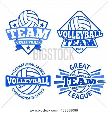 Set of volleyball badges, logo templates etc.