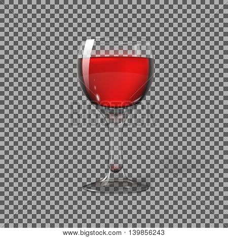 Transparent photo realistic isolated on plaid, wine glass with red wine, for branding and your design. Vector illustration