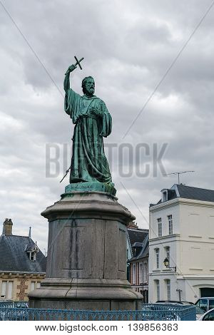Statue of Saint Peter the Hermit in Amiens near cathedral France.