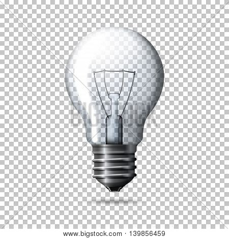 Transparent realistic light bulb isolated on plaid background.