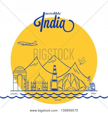 View of Incredible India, Creative line-art illustration of India Gate, Taj Mahal, Qutub Minar and Lotus Temple, Vector illustration for Indian Independence Day celebration.