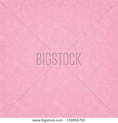 Toys Pink seamless background pattern