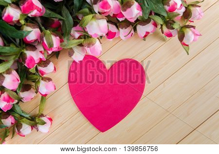 Roses and heart shape card for your message