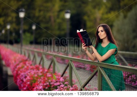Woman Reading a Book on a Bridge with Flowers
