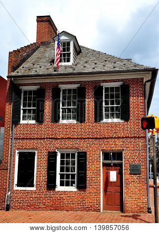 Baltimore Maryland - July 23 2013: 1793 Flag House home of Mary Pickersgill maker of the flag that inspired Francis Scott Key's poem which became America's national anthem *