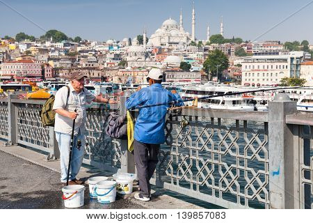 Fishermen Talk On Galata Bridge, Turkey