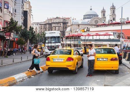 Ordinary People And Taxi Driver Are On Taksim