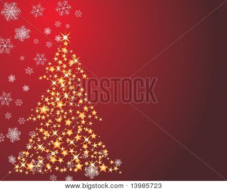 Christmas (New Year) fir-tree with stars. In my portfolio also available vector version of this picture.