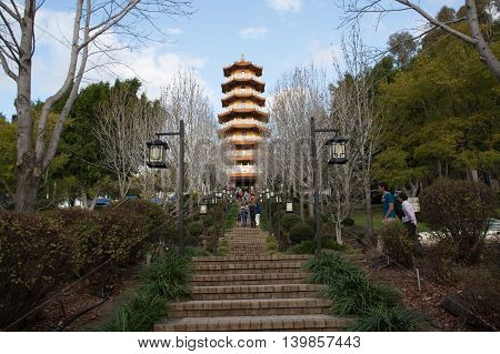10 July 2016: Tourists visiting the Nan Tien Temple near Woolongong Australia - The largest Buddhist temple in the Southern Hemisphere