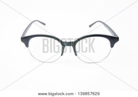 Fashion Glasses Style Plastic-framed On White Background.