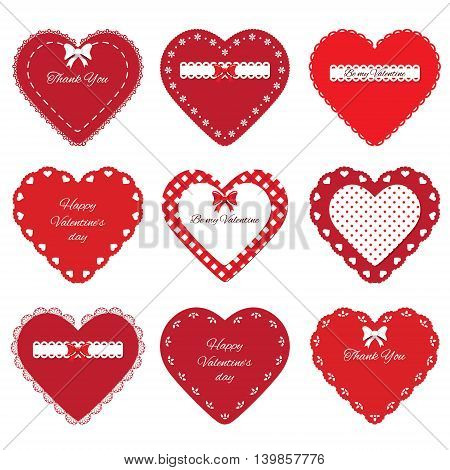Valentine's day stickers. Decorative cut out hearts set isolated on white.