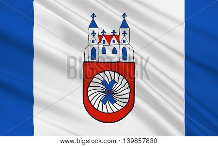 Flag of Hamelin is a town on the river Weser in Lower Saxony Germany. 3d illustration