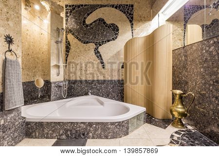 Palatial Bathroom Creating Atmosphere Of Orient