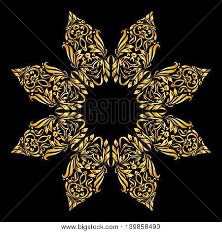Vector gold element similar a flower with 8 petals on black background