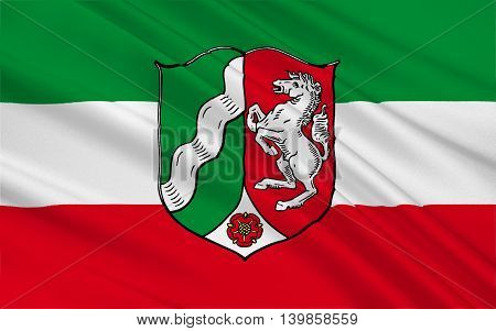 Flag of North Rhine-Westphalia is the most populous state of Germany. 3d illustration