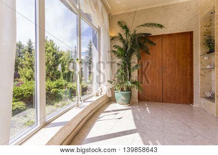 Posh Hallway Overlooking Impressive Garden