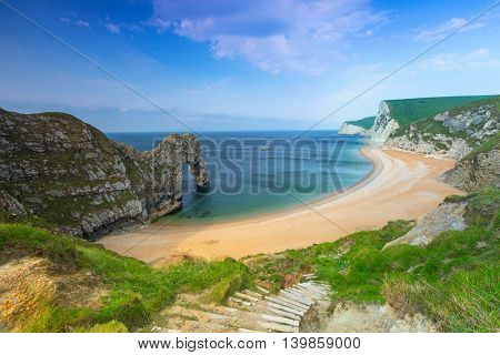 Durdle Door at the beach on the Jurassic Coast of Dorset, UK