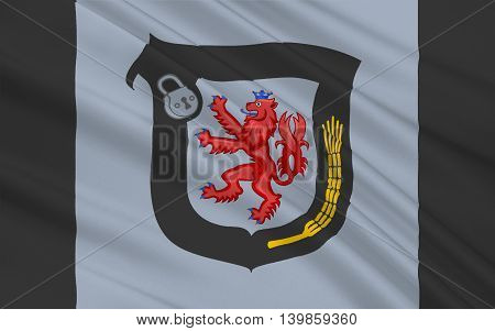 Flag of Mettmann is a district in the middle of North Rhine-Westphalia Germany. 3d illustration