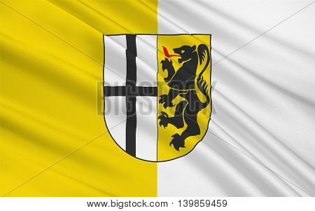 Flag of Neuss is a district in the west of North Rhine-Westphalia Germany. 3d illustration