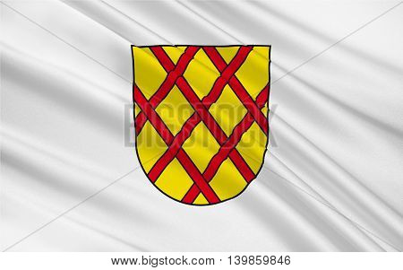 Flag of Daun is a town in the Vulkaneifel district in Rhineland-Palatinate Germany. 3d illustration