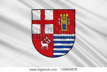 Flag of Eifelkreis Bitburg-Prum is a district in Rhineland-Palatinate Germany. 3d illustration