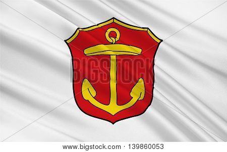 Flag of Ludwigshafen am Rhein is a city in Rhineland-Palatinate Germany. 3d illustration