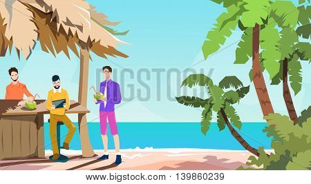 Business People Group Tropical Bar Businessman Using Tablet Beach Summer Vacation Island Flat Vector Illustration