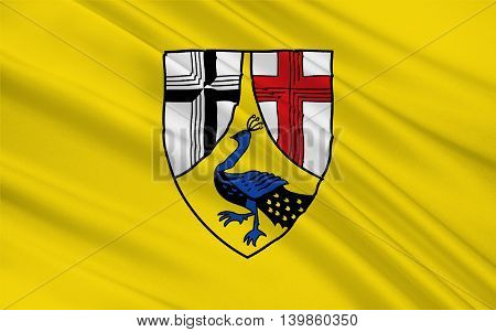 Flag of Neuwied is a district (Kreis) in the north of Rhineland-Palatinate Germany. 3d illustration