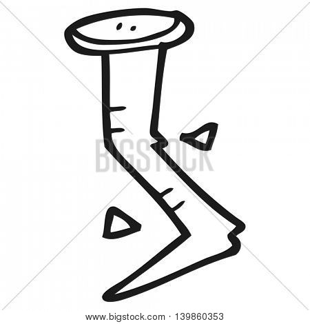 freehand drawn black and white cartoon bent nail