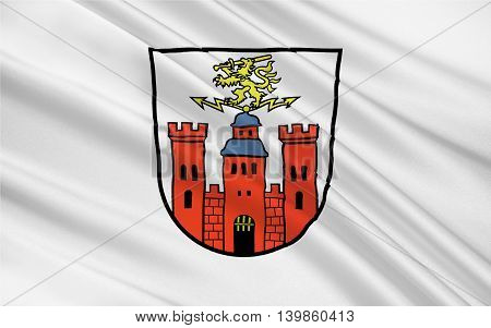 Flag of Pirmasens is an independent town in Rhineland-Palatinate Germany. 3d illustration