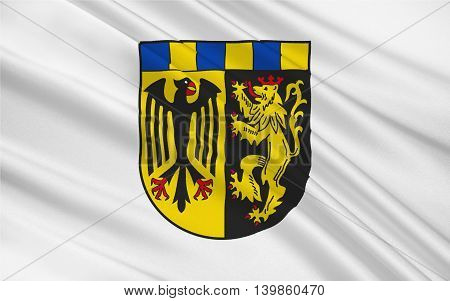 Flag of Rhein-Hunsruck-Kreis is a district (Kreis) in the middle of Rhineland-Palatinate Germany. 3d illustration