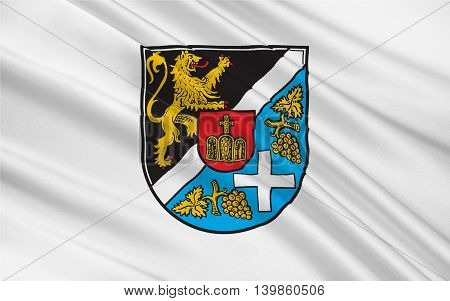 Flag of Sudliche Weinstrasse is a district (Kreis) in the south of Rhineland-Palatinate Germany. 3d illustration