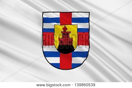 Flag of Trier-Saarburg is a district in the west of Rhineland-Palatinate Germany. 3d illustration