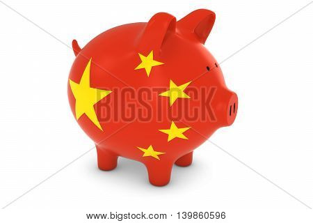 Chinese Currency Concept - Chinese Flag Piggy Bank 3D Illustration