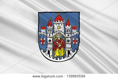Flag of Montabaur is a town and the district seat of the Westerwaldkreis in Rhineland-Palatinate Germany. 3d illustration