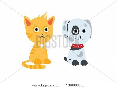 Cute cartoon isolated cat and dog characters