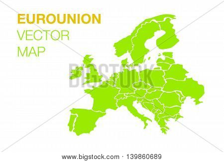 Flat Euro union map on white background