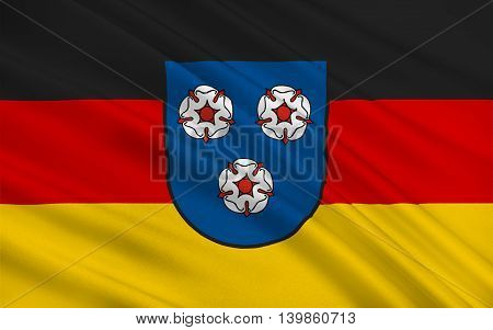Flag of Mettlach is a municipality in the district Merzig-Wadern in Saarland Germany. 3d illustration