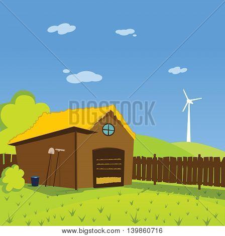 Colorful cute toon illustration of rural farm
