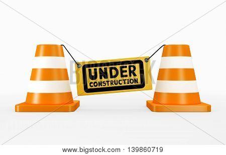 3D Illustration Of Under Construction Concept.