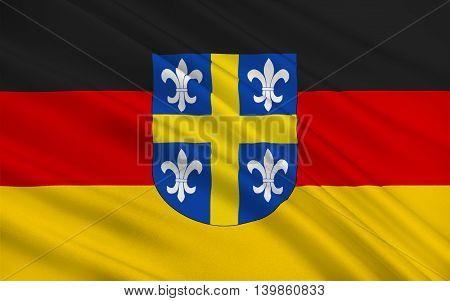 Flag of Sankt Wendel is a town in northeastern Saarland Germany. 3d illustration